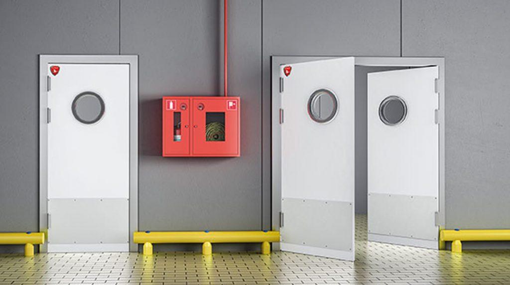 Puerta batiente r gida de doble acci n kaviflex for Puertas de cocina de restaurante