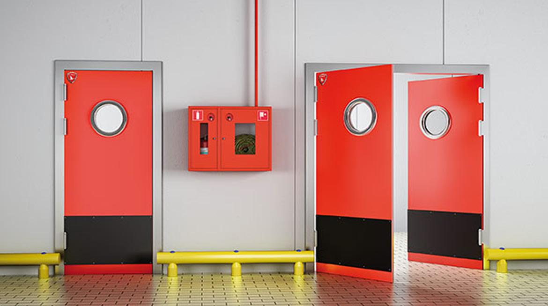 Puerta batiente rigida de doble accion roja kaviflex for Puerta cocina industrial